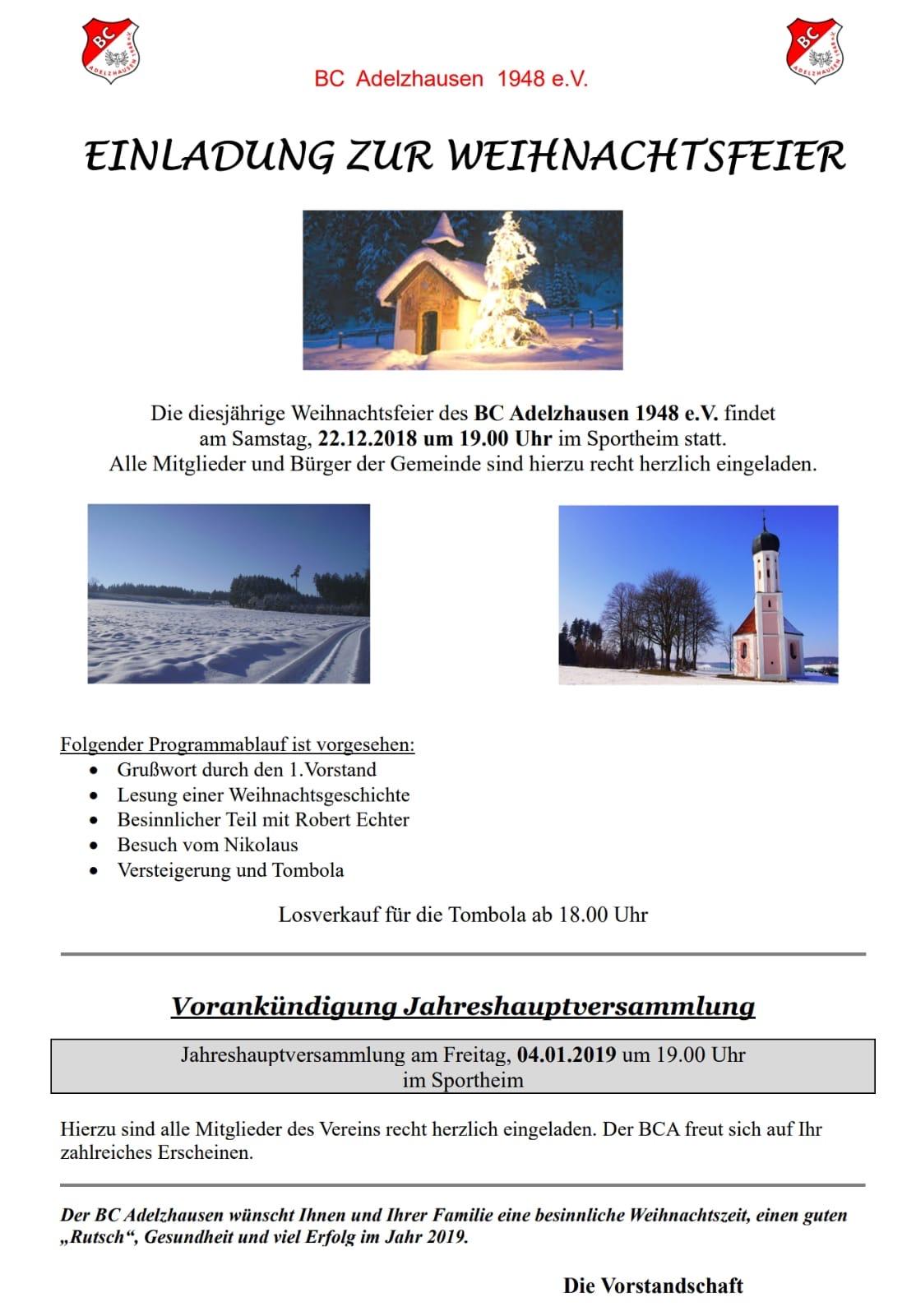 Text Einladung Weihnachtsfeier Verein.Bc Adelzhausen 1948 E V Blog Archiv Einladung Weihnachtsfeier 2018
